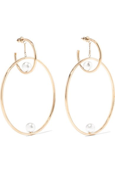 Darcey gold-tone faux pearl hoop earrings