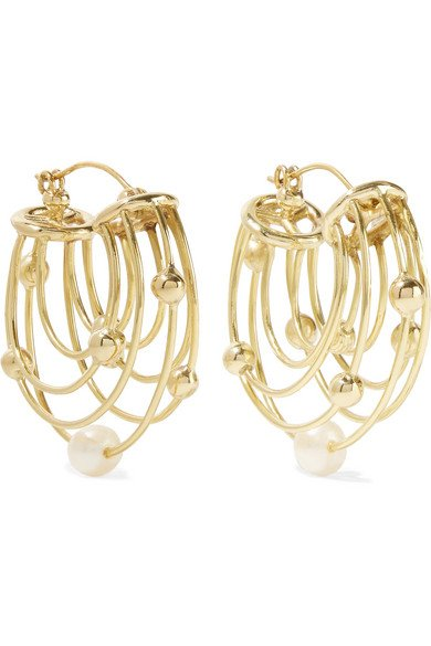 Classical Scaffolding gold-plated pearl hoop earrings