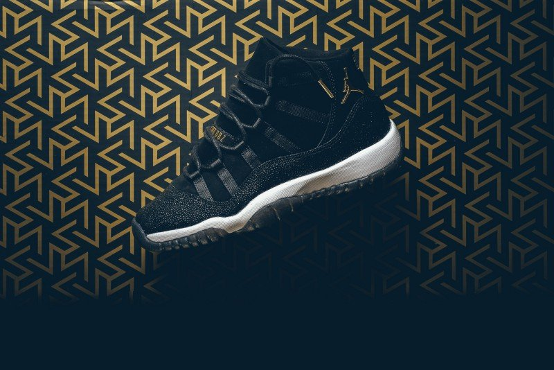 18edde0b9f1 ... Air Jordan 11 Retro Prem HC GG Heiress Black Stingray Sneakers Review 5  ...