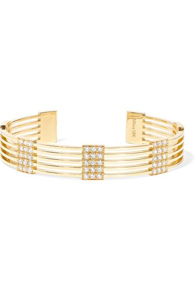 Izzy 18-karat gold diamond cuff