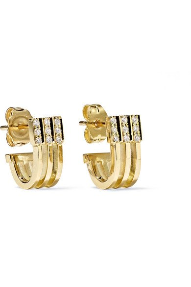 Izzy Huggie 18-karat gold diamond earrings