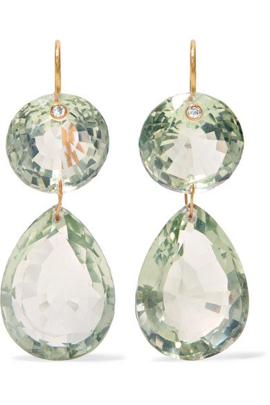 Girandole 22-karat gold quartz earrings