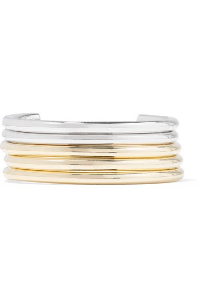 Set of five gold and silver-plated cuffs