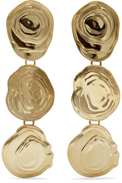 On The Halfshell gold-tone earrings