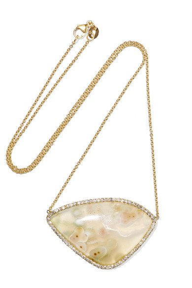 18-karat gold, agate and diamond necklace