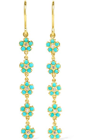 18-karat gold, diamond and turquoise flower earrings