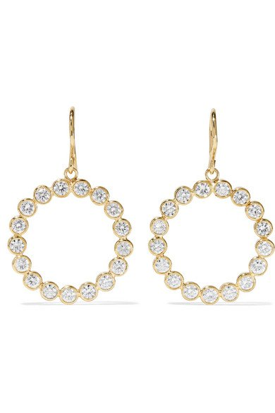 Open Circle 18-karat gold diamond earrings