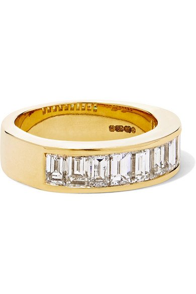 Channel 18-karat gold diamond ring