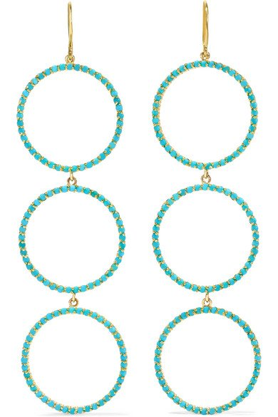 18-karat gold turquoise earrings
