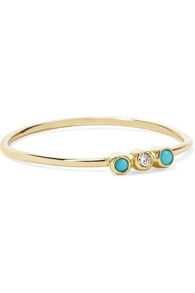 18-karat gold, turquoise and diamond ring