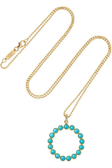 18-karat gold circle turquoise necklace