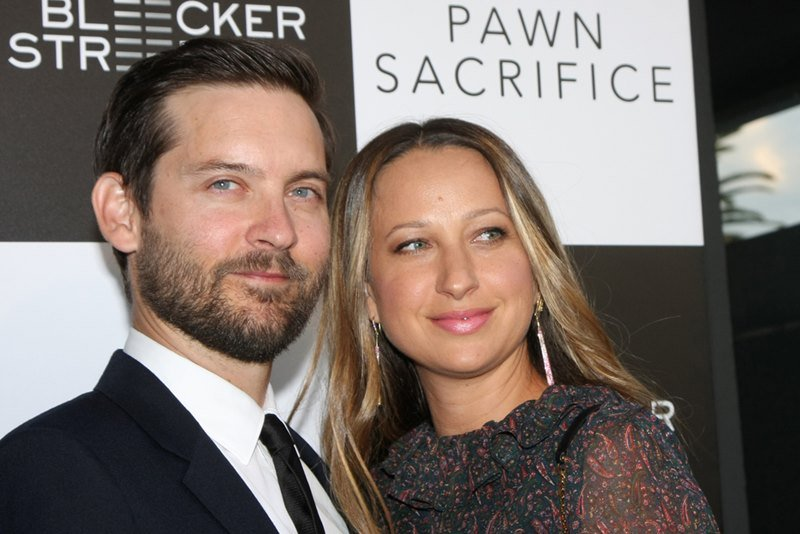 Jennifer Meyer and Tobey Maguire at the Pawn Sacrifice LA Premiere at the Writer's Guild Theater in 2015