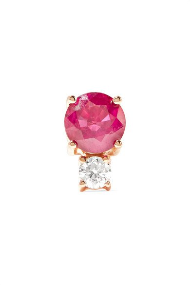 18-karat rose gold, ruby and diamond earring