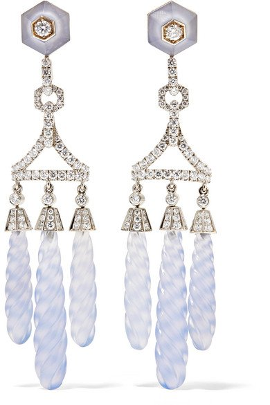 Collection 18-karat white gold, chalcedony and diamond earrings