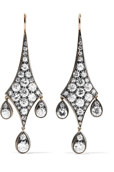 Collection 18-karat gold, silver and diamond earrings