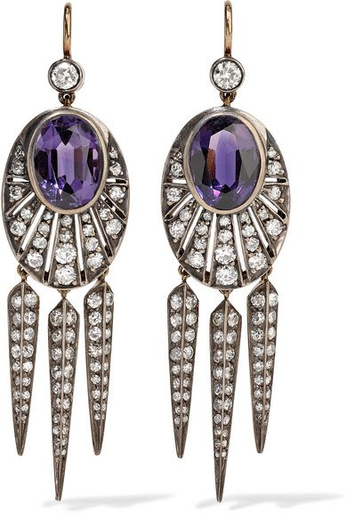 Collection 18-karat gold, silver, diamond and amethyst earrings