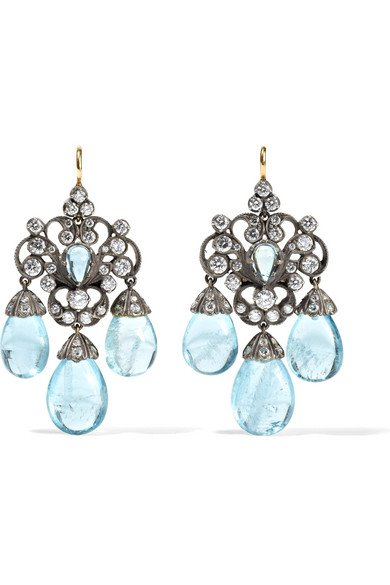 Collection 18-karat gold, silver, diamond and aquamarine earrings