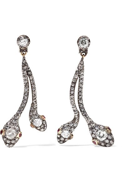 Collection silver-plated gold, diamond and ruby earrings
