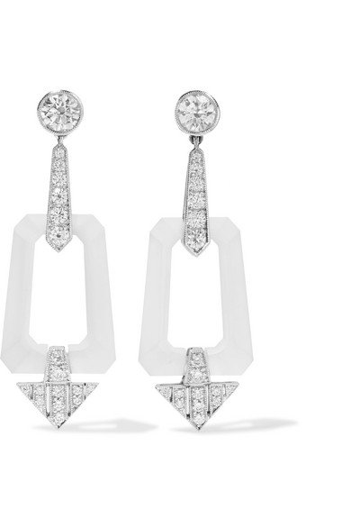 Collection 18-karat white gold, rock crystal and diamond earrings
