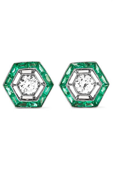 Collection 18-karat white gold, emerald and diamond earrings
