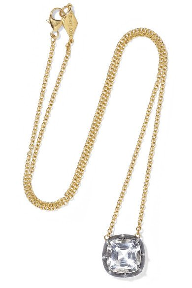 Collection 18-karat gold, sterling silver and topaz necklace