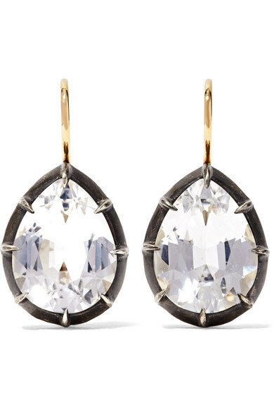 Collection 18-karat gold, sterling silver and topaz earrings