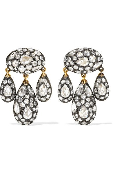 Collection 18-karat gold, sterling silver and diamond earrings