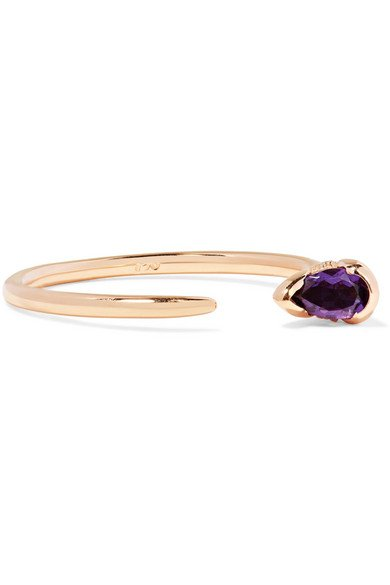 Sprout 18-karat rose gold, amethyst and diamond ring