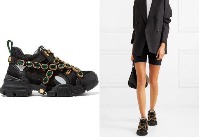 Gucci Flashtrek embellished logo-embossed mesh, suede and leather sneakers