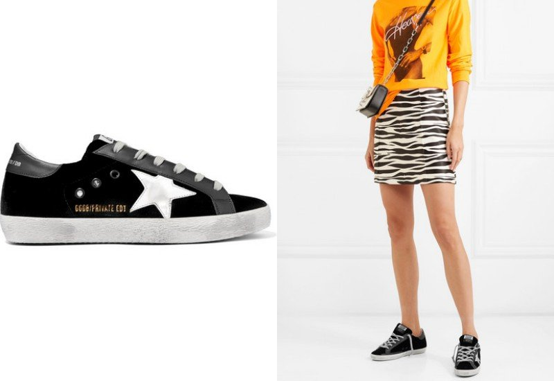 Golden Goose Deluxe Brand Superstar distressed velvet and leather sneakers