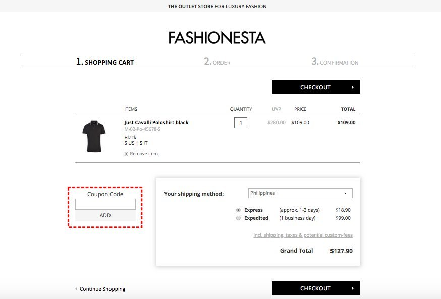 How to add promo codes on Fashionesta
