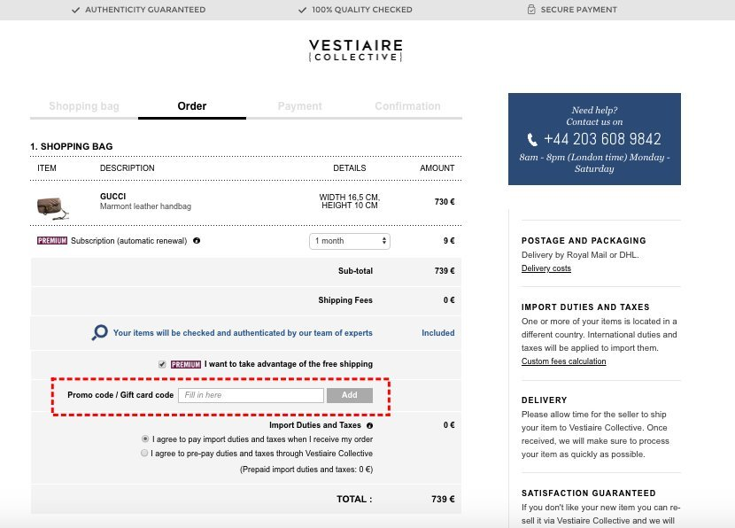 How to add promo codes on Vestiaire Collective