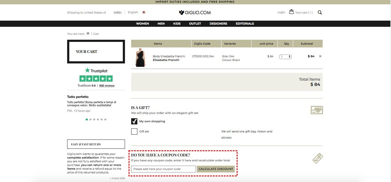 How to add promo codes on Giglio.com