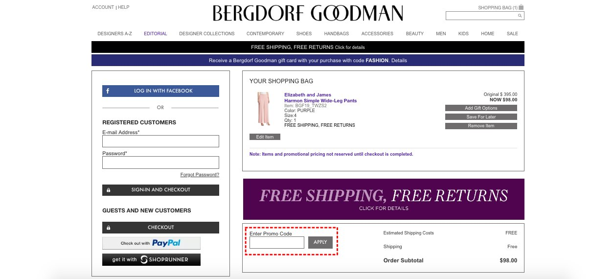 How to add promo codes on Bergdorf Goodman