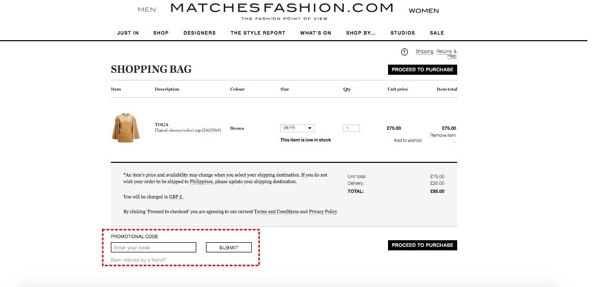 How to add promo codes on MATCHESFASHION.COM