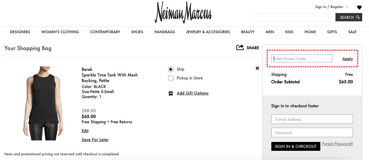How to add promo codes on Neiman Marcus