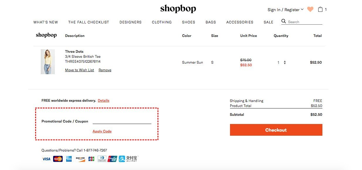 How to add promo codes on Shopbop
