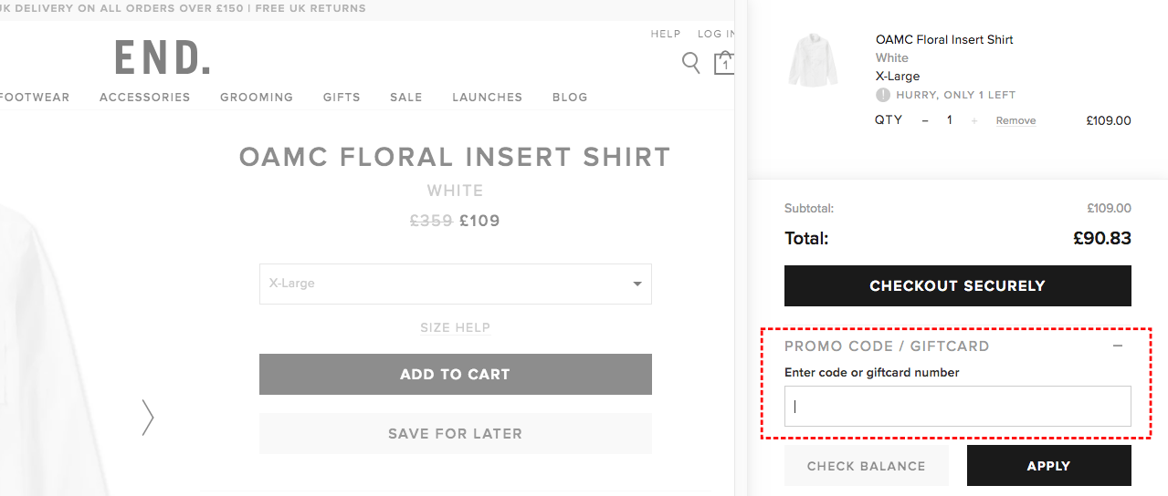 How to add promo codes on END Clothing