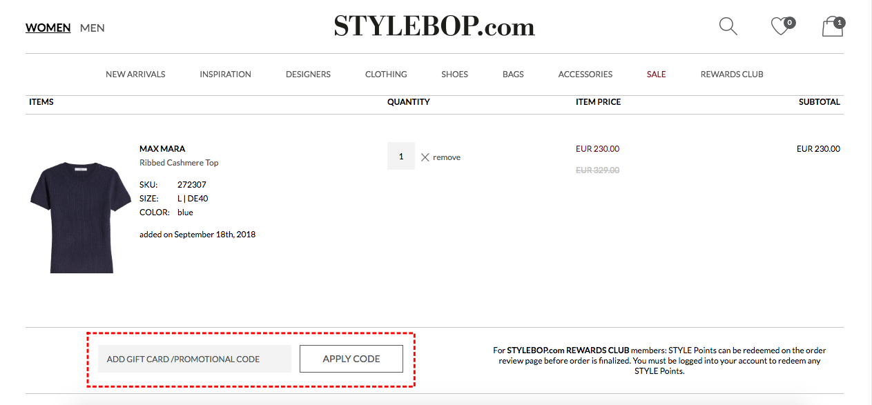 How to add promo codes on STYLEBOP.com