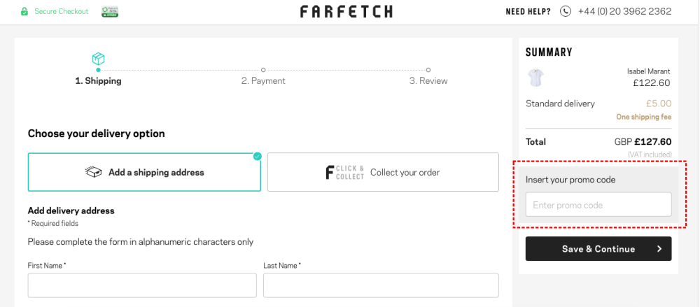 How to add promo codes on Farfetch