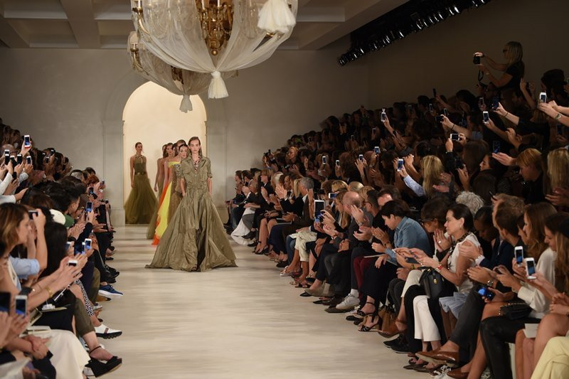 Models walk the runway finale at Ralph Lauren fashion show during Mercedes-Benz Fashion Week in Spring 2015