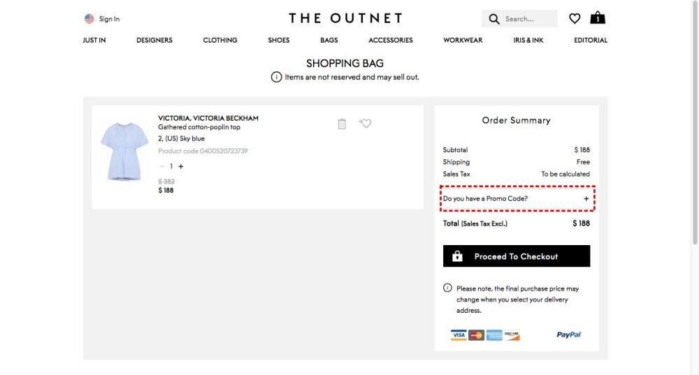 How to add promo codes on The Outnet
