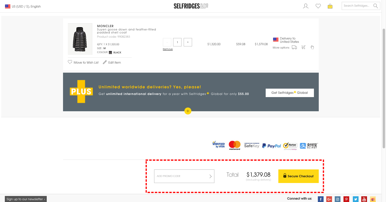 926c2fc3625b How to add Coupon Codes in Selfridges