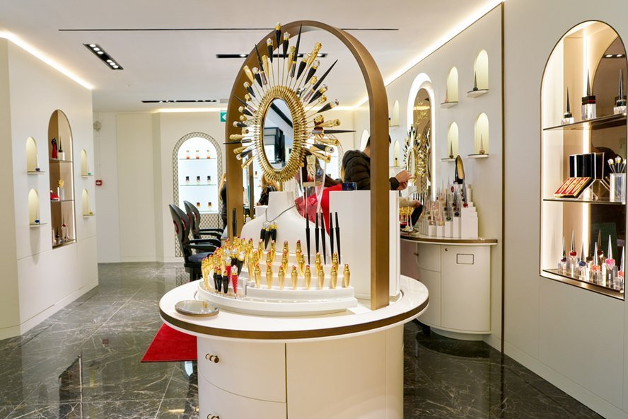 Christian Louboutin beauty products sit on display at a second flagship store of Rinascente in Rome.