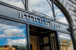 Exterior and signage of the Burberry store in Covent Garden