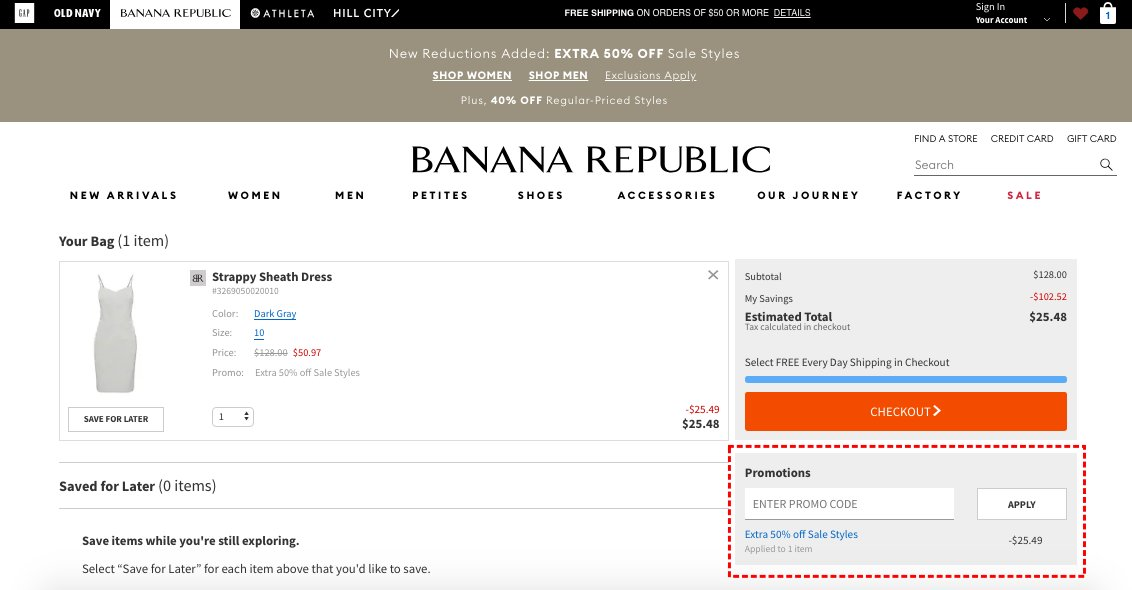 How to add promo codes on Banana Republic