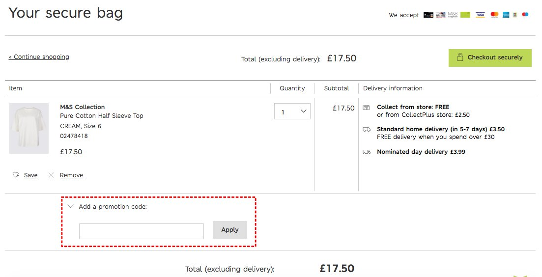 How to add promo codes on Marks & Spencer