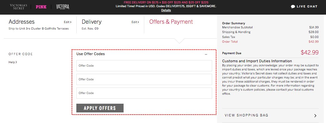How to add promo codes on Victoria's Secret
