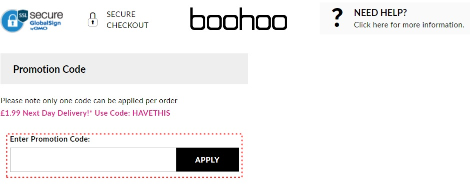 How to add promo codes on Boohoo