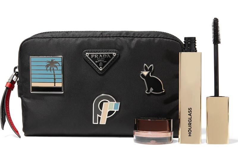 PRADA Embellished leather-trimmed shell cosmetics case